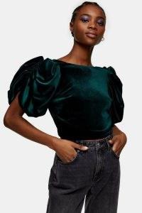 Topshop Green Velvet Sleeve Detail Top | ruched short sleeve tops