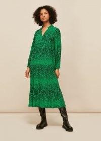 WHISTLES SPECKLED ANIMAL ENORA DRESS ~ green flowing midi dresses