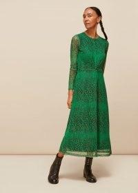 WHISTLES SPECKLED ANIMAL MESH DRESS ~ green sheer overlay dresses