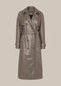 WHISTLES CROC BELTED TRENCH COAT / grey crocodile embossed coats