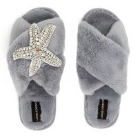 Laines London Grey Fluffy Slippers Silver Starfish Brooch