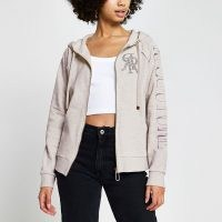 RIVER ISLAND Grey 'RI Couture' zip through hoodie ~ embellished hoodies ~ casual sporty fashion