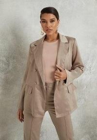 MISSGUIDED grey satin oversized blazer ~ luxe style blazers