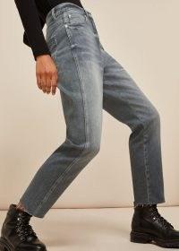 WHISTLES SLIM FRAYED DETAIL JEAN / grey denim jeans
