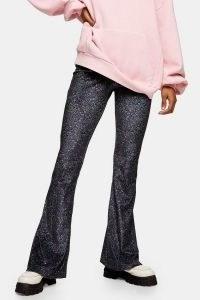 TOPSHOP Grunge Floral Velvet Flare Trousers / retro flares