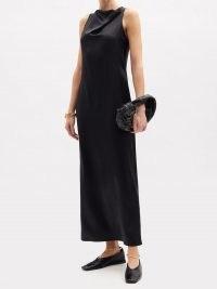 LA COLLECTION Gwyneth silk-satin maxi dress | long elegant evening dresses