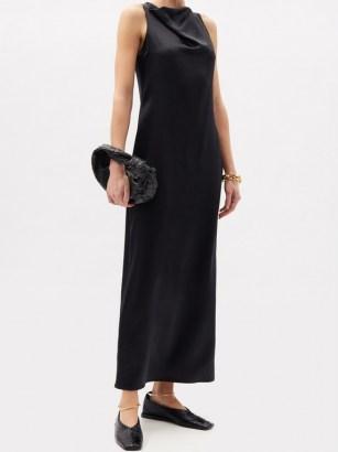LA COLLECTION Gwyneth silk-satin maxi dress | long elegant evening dresses - flipped