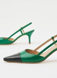 L.K. BENNETT HALLY GREEN AND BLACK LEATHER SLINGBACKS / point toe slingback shoes