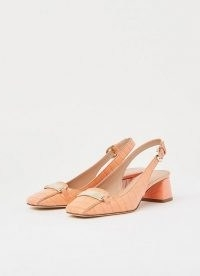 L.K. BENNETT HARLEM APRICOT CROC-EFFECT LEATHER SLINGBACKS / block heel slingback shoes