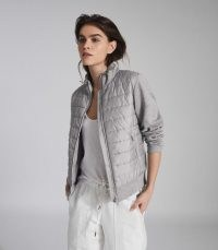 REISS HARPER HYBRID ZIP THROUGH QUILTED JACKET GREY MARL ~ casual quilt detail jackets