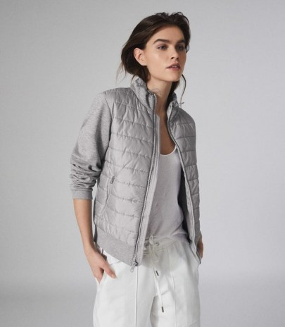 REISS HARPER HYBRID ZIP THROUGH QUILTED JACKET GREY MARL ~ casual quilt detail jackets - flipped