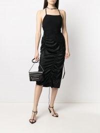 Helmut Lang ruched midi skirt | black gathered skirts