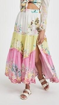 Hemant and Nandita Midi Skirt / floral thigh high split summer skirts