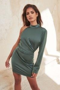 lavish alice high neck one shoulder mini dress in deep pine ~ green one sleeve high neck dresses
