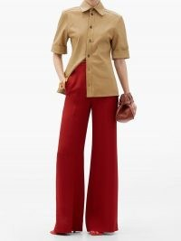 CHLOÉ High-rise leather-belted crepe wide-leg trousers – chic red pants