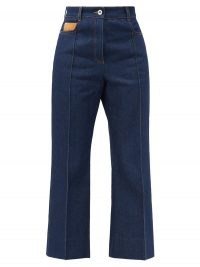 PACO RABANNE High-rise pintucked kick-flare jeans ~ cropped denim flares