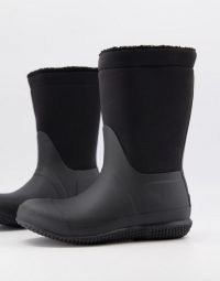 Hunter Original teddy lined fold wellington boots in black ~ wellies