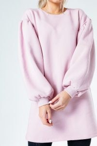 HYPE BALLOON SLEEVE WOMEN'S SWEAT DRESS ~ casual pink dresses