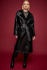 Topshop IDOL Black PU And Borg Reversible Coat – faux leather coats