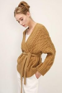 storets Autumn Cable Knit Cardigan   brown belted wrap cardigans