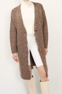 storets Zoe Cable Knit Cardigan   brown longline cardigans