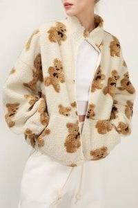 storets Brynn Teddy Zip Up Jacket   textured bomber jackets   bear prints   bears