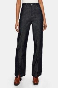 Topshop Indigo Split Hem Parallel Jeans | slit hems | dark denim