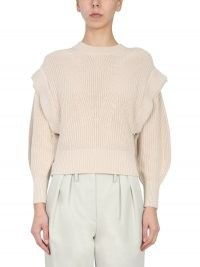"IRO ""KHARLA"" CREW NECK BLEND COTTON AND LINEN SWEATER 