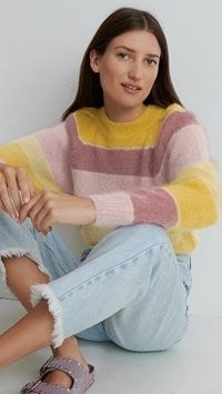 Isabel Marant Etoile Daniel Mohair Pullover Yellow / stripe colour block jumpers