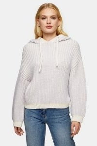 TOPSHOP Ivory And Lilac Plaited Knitted Hoodie ~ chunky knit hoodies ~ pullovers with hoods