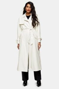 TOPSHOP Ivory Belted Maxi PU Vinyl Trench Coat ~ faux leather tie waist coats