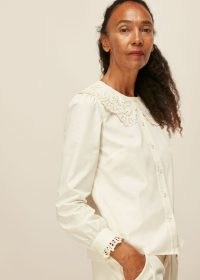 WHISTLES LACE COLLARED COTTON BLOUSE / scalloped collar blouses / oversized collars