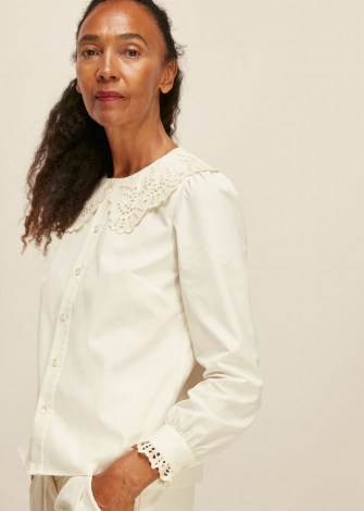 WHISTLES LACE COLLARED COTTON BLOUSE / scalloped collar blouses / oversized collars - flipped
