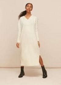 WHISTLES V NECK KNITTED DRESS IVORY / modern classic knitwear / split hem sweater dresses