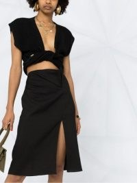 Jacquemus high-waisted linen midi skirt | black thight high split skirts