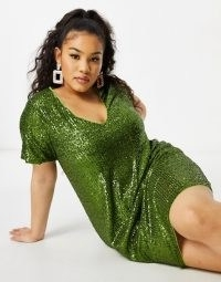 Jaded Rose Plus sequin t-shirt mini dress in olive green ~ sequinned plus size dresses