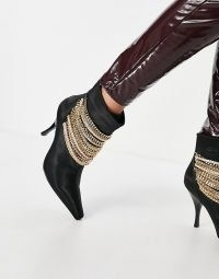 Jeffrey Campbell Chainge heeled ankle boots with chain details in black