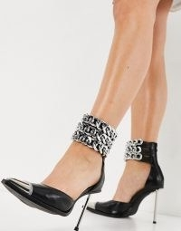 Jeffrey Campbell Governer heeled shoes with chain ankle straps in black ~ pointed toe stiletto heel shoes