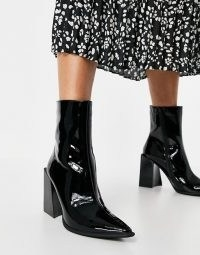 Jeffrey Campell Lasiren heeled ankle boots in black ~ patent block heel boots