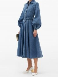 EMILIA WICKSTEAD Jewel belted balloon-sleeve denim dress ~ volume sleeved vintage style dresses