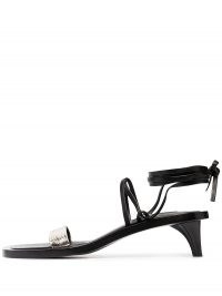 Jil Sander strappy leather slide sandals / tapered kitten heels