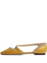Jimmy Choo Joezie stud-embellished ballerinas | studded ballerina shoes | square toe flats