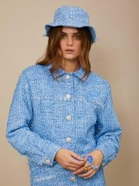 sister jane Bubblegum Tweed Frayed Jacket blue ~ textured frayed detail jackets