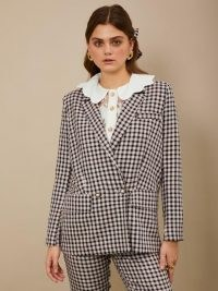 sister jane Attraction Check Double Breasted Blazer Pink and Grey / metallic checked blazers