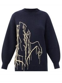 SSŌNE Joanie embroidered recycled-cashmere sweater | navy volume sleeve crew neck