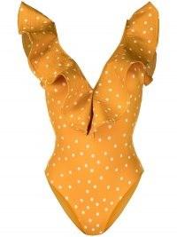 Johanna Ortiz polka dot-print ruffled swimsuit fire-orange/white