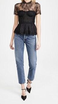 Jonathan Simkhai Kehlani Lingerie Lace Bustier Top ~ semi sheer fitted tops