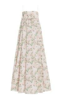 Bernadette Antwerp Jules Floral-Print Taffeta Maxi Dress ~ pink floral spaghetti strap dresses