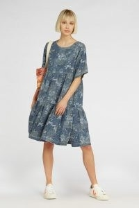 gorman JUNGLE BLUES DRESS / tiered animal print denim dresses
