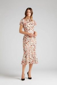 goat KALISTA FRILL SLEEVE WILDFLOWER DRESS ~ floral mermaid hem dresses ~ feminine style clothing
